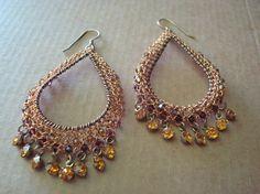 Golden Tear Drop Crochet Wire Earrings by dragonswire on Etsy, $40.00