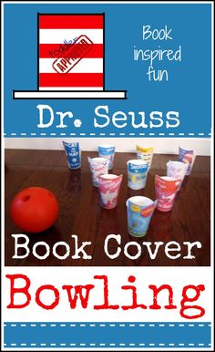 Seuss Book Cover bowling - you could do with all sorts of book covers Dr Seuss Activities, Craft Activities For Kids, Book Activities, Toddler Activities, Preschool Decorations, Preschool Themes, Kid Crafts, Movement Activities, Gross Motor Activities
