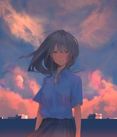 The sky is beautiful and so you are. Manga Anime, Manga Kawaii, Anime Oc, Kawaii Anime Girl, Anime Art Girl, Manga Girl Sad, Pretty Art, Cute Art, Chibi