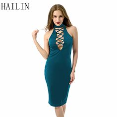 Summer Dress 2016 Women Bandage Halter Hollow Out Slim Bodycon Sexy Club Slim Dress ** Learn more by visiting the image link.