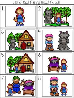 Fairy Tales Unit, Fairy Tale Theme, Picture Cards, Dramatic Play, Retelling, Red Riding Hood, Little Red, Nursery Rhymes, Story Time