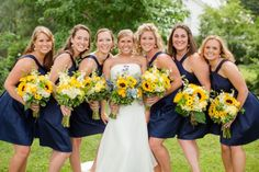 Rustic Southern Wedding - Heart Love Weddings Navy bridesmaids' dresses from David's Bridal