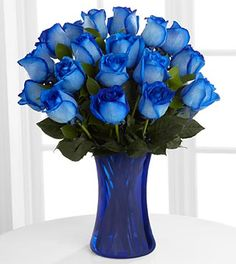 Extreme Blue Hues Fiesta Rose Bouquet - 18 Stems - VASE INCLUDED