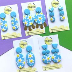 Fimo Clay, Polymer Clay Crafts, Polymer Clay Jewelry, Diy Clay Earrings, Cute Earrings, Cute Jewelry, Jewelry Crafts, Daisy Daisy, Clay Charms