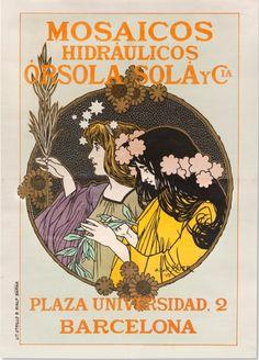 Alexandre de Riquer (1856 -1920). Cartell MOSAICOS HIDRÁULICOS ÓRSOLA SOLÀ Y CIA, 1898.  Barcelona. Col·lecció d'Arts Gràfiques del Museu del Disseny de Barcelona