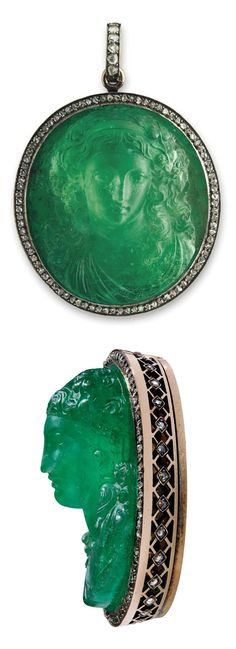 HISTORIC EMERALD AND DIAMOND PENDANT. The emerald cameo in high relief depicting a female bust within a rose-cut diamond surround and detachable pendant hoop, 6.0 cm. Provenance: Lausanne, January 1920, lot 234, Joyaux de Madame la Princesse Lobanoff de Rostoff.