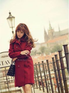 Delicate Double-Breasted Turndown Collar Long Sleeves Women's Red Wool Blend Coat (RED,L), Jackets & Coats - fashiondresswholesale.com