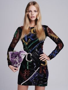 Marloes models Versace dress from label's fall 2015 collection, 70s inspired