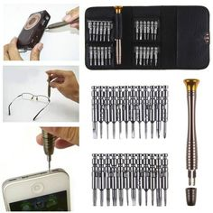 25 Pcs Mini Repair Kit Hand Tool Screwdriver Set for Eyeglasses Laptop Watch. Screwdriver specification 1 Mini Screwdriver S et. Size:About 105 65 About 200 Mini and easy to carry. Mobiles, Iphone 6, Iphone Watch, T2 T3, Precision Tools, Rgb Led Strip Lights, Mobile Phone Repair, Mobile Phones, Games
