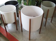 mid-century modern white planters by Modernica