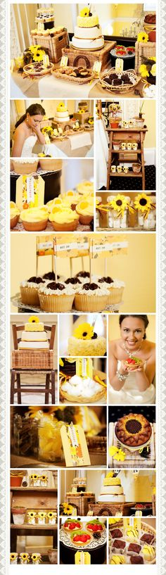 Rustic chic, sunflower inspired dessert table.  Wedding ideas, Birthdays, anniversaries.