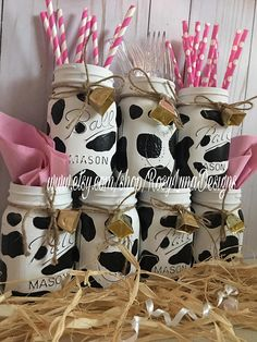 Cow themed party jars, birthday party centerpiece, home decor, desk decor Cow Birthday Parties, Birthday Party Centerpieces, 1st Birthday Girls, Birthday Banners, Birthday Invitations, Birthday Ideas, Farm Themed Party, Barnyard Party, Farm Party