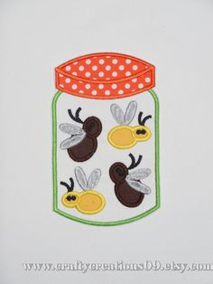 """Embroidered Iron On Applique- """"Bug Jar"""""""