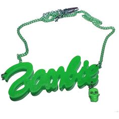 Inked Boutique - Green Zombie Necklace (Also available in purple and red!) Horror Psychobilly  http://www.inkedboutique.com