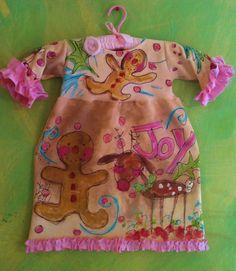 Shabby  Fun Reindeer and Gingerbread Girls Dress by YelliKelli, $60.00