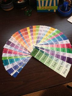 Reading strips: they have sight words/word family words written on them- easy for a center! {broken link, picture only}