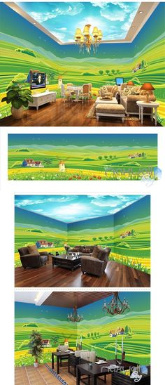 Country field theme space entire room wallpaper wall mural decal IDCQW-000032