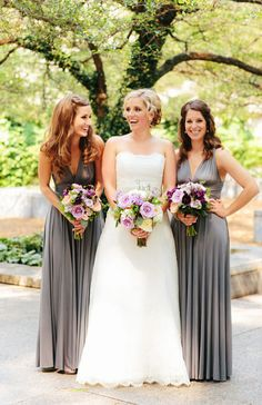 gray bridesmaid dresses - would look perfect with pink or yellow flowers< and very easy to do mismatch with silvers, blacks, charcoals, etc