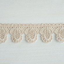 #Organic #lace #trim 37 mm wide natural ecru cotton colour undyed, fruit drop curved edge www.lancasterandcornish.com #bridal #wedding #trim #lampshade #dressmaking #sewing #millinery #lingerie