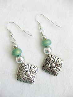 Silver and Blue Green Beaded Earrings, Seafoam Green Beaded, Silver Beaded, Handmade Earrings, Womens Earring, Dangle Earring, Bead Earrings