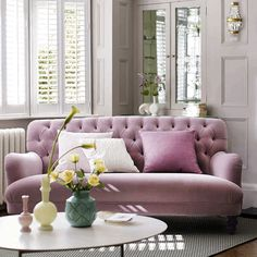 This 'Bailey' sofa by DFS pairs two of our favourite autumn interiors trends – velvet and dusty pink!