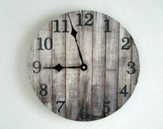 Rustic Wall Clock on Vinyl LP Record - Gray Wood Pattern - Cabin Wall Decor - Unique Wall Clock - Rustic Home Decor