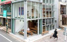 All-Glass Soup Restaurant in Tokyo Spa Interior Design, Tokyo Restaurant, Red Brick Walls, Old Train Station, Old Trains, Timber House, Sash Windows, Design Language, Kitchen Styling