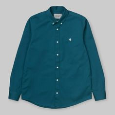 New carhartt wip collection Men's shirt Madison shirt Colour moody blue Fly button closure Button down collar C logo embroidered on chest Premium heavy weight cotton Machine wash Regular fitting Moody Blues, Carhartt Wip, Button Down Collar, Colorful Shirts, Underwear, Mens Fashion, Shirt Dress, Cotton, Mens Tops