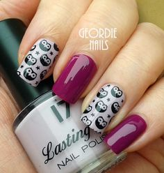 69 Ideas For Nails Art Stamping Ideas Owl Nail Art, Owl Nails, Animal Nail Art, Creative Nail Designs, Simple Nail Designs, Creative Nails, Nail Art Designs, Glitter Manicure, Bling Nails