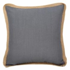 Blue Polyester with Jute Trim Cushion