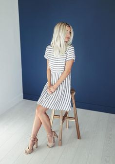 • Medium length grey striped dress, fit runs a bit large. Also available in pink. • Available in sizes S, M, L • 100% Cotton • Hand wash cold, hang to dry