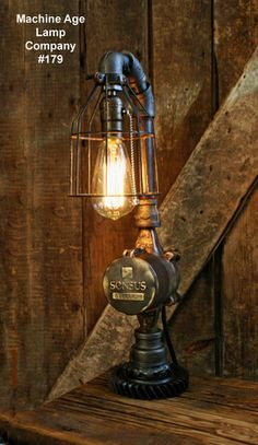 Steampunk Lamp, Antique Water Meter and Gear Base #179C