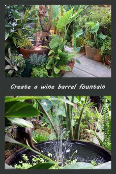 create a wine barrel fountain 3