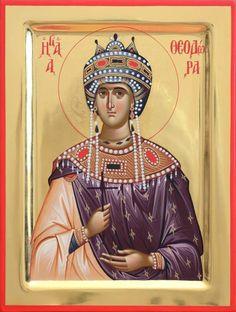 Saint Theodora Byzantine Empress (wife of Theophilos) Greek Orthodox Russian Mount Athos Byzantine Christian Catholic Icon Religious Images, Religious Icons, Religious Art, Byzantine Icons, Byzantine Art, Best Icons, Divine Light, Catholic Saints, Orthodox Icons
