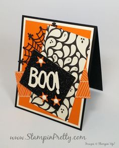 """Boo to You Halloween Card - http://stampinpretty.com/2015/08/boo-to-you-halloween-card.html  A fresh spin for a Halloween card.  """"Boo"""" is from Boo to You Framelits Dies!  More details & Stampin' Up! card ideas on my Stampin' Pretty blog, http://stampinpretty.com.  Mary Fish, Independent Stampin' Up! Demonstrator."""