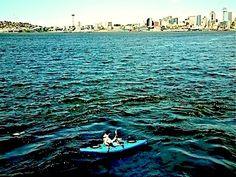 Kayak on the water at Alki. What great views of downtown Seattle! Seattle Times, Downtown Seattle, Great View, Kayaking, Sidewalk, Boat, Water, Pictures, Gripe Water