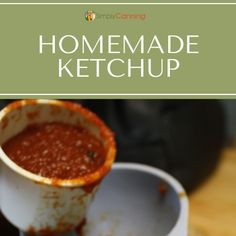 Scoop of homemade ketchup. Crunchy Dill Pickle Recipe, Sweet Relish Recipe, Relish Recipes, Homemade Ketchup Recipes, Home Canning Recipes, Pickled Beets, Stewed Tomatoes, Sweet Pickles, Pickle Relish