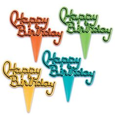 Oasis Supply Happy Birthday Script CupcakeCake Picks 2Inch Assorted Colors Set of 12 * Check out this great product.