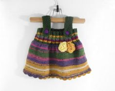 Knitted Girl Tunic Dress - Spring Colors, 6 - 9 months