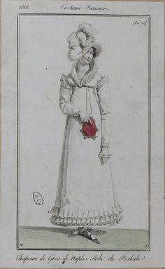 1816 Costume Parisien. Hat of silk. Cotton dress. Reticule.