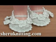 Crochet Baby Booties Tutorial 36 Part 1 of For more crochet video patterns please visit our website . In this crochet baby shoes tutorial you will learn how to crochet baby booties. This crochet tutorial has 2 parts. Booties Crochet, Crochet Sole, Crochet Baby Booties Tutorial, Baby Shoes Tutorial, Crochet Baby Sandals, Crochet Baby Clothes, Crochet Slippers, Christening Shoes, Lace Tape