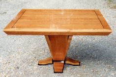 Dining table in Cherry with ebonized trim