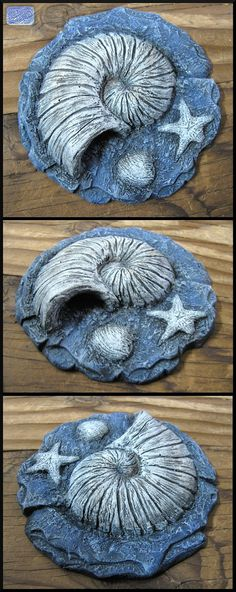 """Made to Order - 4 1/2"""" Realistic Animal Crossing Inspired Shell Fossil Replica Cast in Resin - Cosplay Prop - Display Piece"""