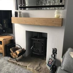 Oak Fireplace Beam Mantle / Mantelpiece Planed and Sanded Celtic Timber mantels Cottage Style Living Room, Living Room White, White Rooms, New Living Room, Home And Living, Living Room Decor, Wood Burner Fireplace, Cosy Fireplace, Small Fireplace