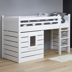 Loft bed / play bed HUTSBETT TARZAN, solid wood, white, convertible, Source by msnikkihollenbeck Ikea Toddler Bed, Play Beds, Kid Beds, Ikea Kura Bed, Childrens Beds, House Beds, Bedroom Layouts, Big Girl Rooms, Cool Beds