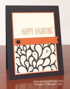 handmade Christmas card by Brian King ... black, vanilla and orange ... strong graphic look ... fun paisley ghost designer paper ...  Stampin' Up!