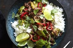 Grab the recipe for these incredible Spicy Beef Larb with Coconut Rice and Smashed Cucumbers and you will NOT be disappointed!