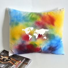 World Map Pillow Cover - Victor's Boutique Fabric Bins, Boutique Homes, Housewarming Gifts, Nature Paintings, Decorative Pillow Covers, Handmade Bags, House Warming, Original Artwork, Cotton Fabric