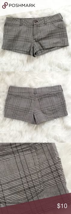 F21 Black & White Plaid Short Shorts These short shorts are super cute, yet not cheeky! Barely worn. Low rise. Black and white plaid-type design. Great condition, almost like new! I don't think I've even worn them once.  ❌Absolutely no trades❌ Forever 21 Shorts
