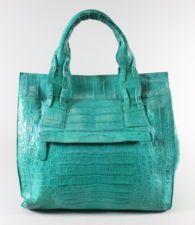 NANCY GONZALEZ Turquoise Crocodile Shopper Tote Handbag AC80...